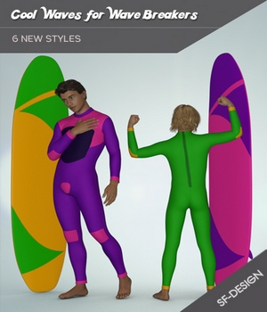 Cool Waves Add On for Wave Breakers for Genesis 3 Males 3D Figure Assets SF-Design