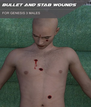 Bullet and Stab Wounds for Genesis 3 Males 3D Figure Assets SF-Design