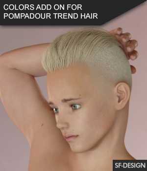 Color Add On for Pompadour Trend Hair for Genesis 3 Male(s) 3D Figure Assets SF-Design