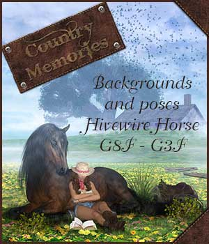 Country Memories - Backgrounds and poses for G3/8F and Hivewire Horse 2D Graphics 3D Figure Assets ilona
