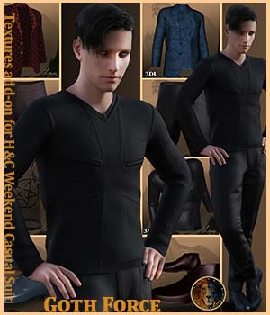 Goth Force for H&C Weekend Casual Suit for Genesis 8 Male 3D Figure Assets Lyone