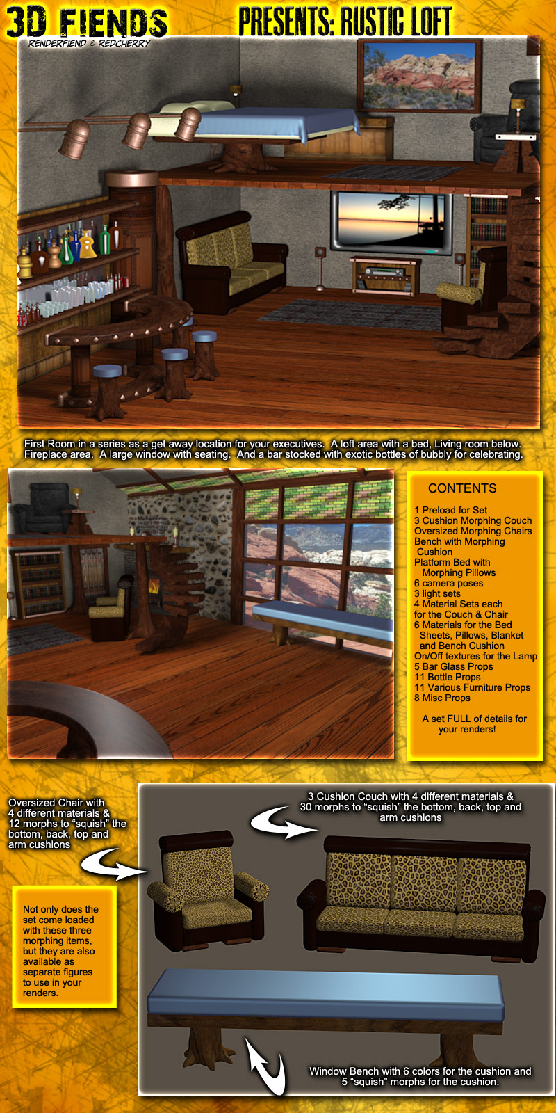 3D Fiends' Rustic Loft Set