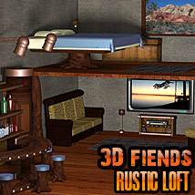 3D Fiends' Rustic Loft Set Props/Scenes/Architecture Themed 3DFiends