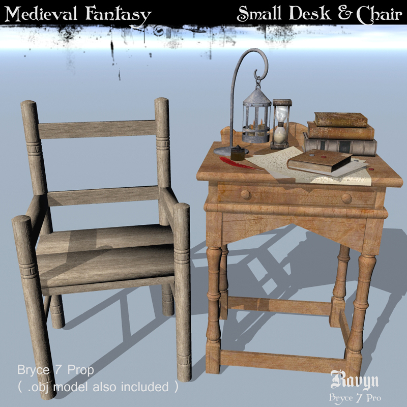 Medieval Fantasy.. Small Desk & Chair