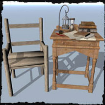 Medieval Fantasy.. Small Desk & Chair 3D Models Ravyns