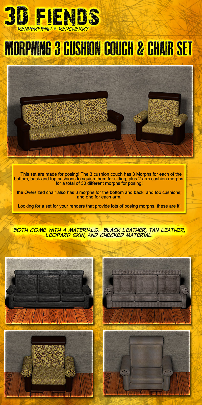 3DFiend's Morphing 3 Cushion Couch and Chair Set