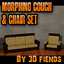 3DFiend's Morphing 3 Cushion Couch and Chair Set 3D Models 3DFiends