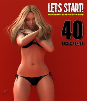 Let's Start! - 40 Poses for V4 3D Figure Essentials 3D Models Software hameleon