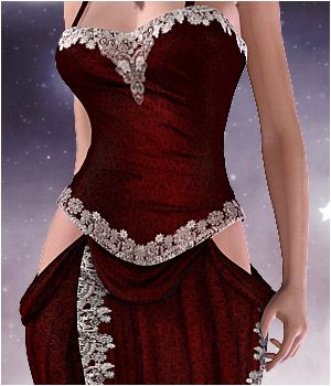 Lady In Red Dress for V4/A4/G4/S4 & Elite 3D Figure Essentials RPublishing