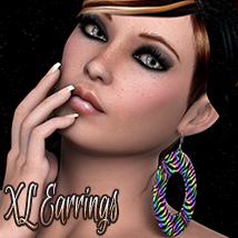 NYC Couture Collection: XL Earrings 3D Figure Assets 3DSublimeProductions