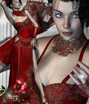 Lady in Red - Romance 3D Figure Essentials 3D Models renapd