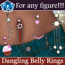 Dangling Belly Rings For Any Figure 3D Figure Assets EmmaAndJordi