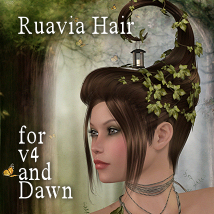 Ruavia Hair for V4, Dawn 3D Figure Assets 3D Models Propschick