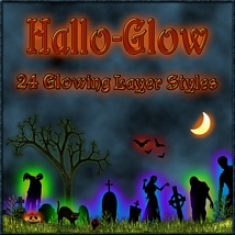 HALLO-GLOW Layer Styles with FREE GIFT 2D Graphics fractalartist01