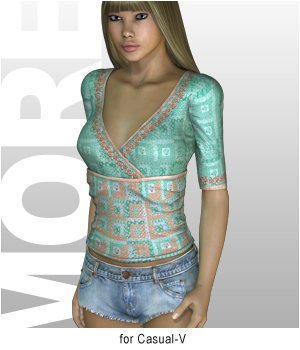 MORE Textures & Styles for Casual-V 3D Figure Assets 3D Models motif