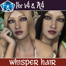 Whisper Hair For V4 And A4 3D Figure Assets EmmaAndJordi