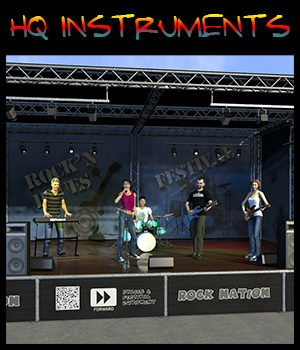Rock band instruments and stage 3D Models 2nd_World