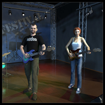 Rock band instruments and stage image 1