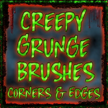 CREEPY GRUNGE Brushes: Corners and Edges Themed 2D And/Or Merchant Resources fractalartist01