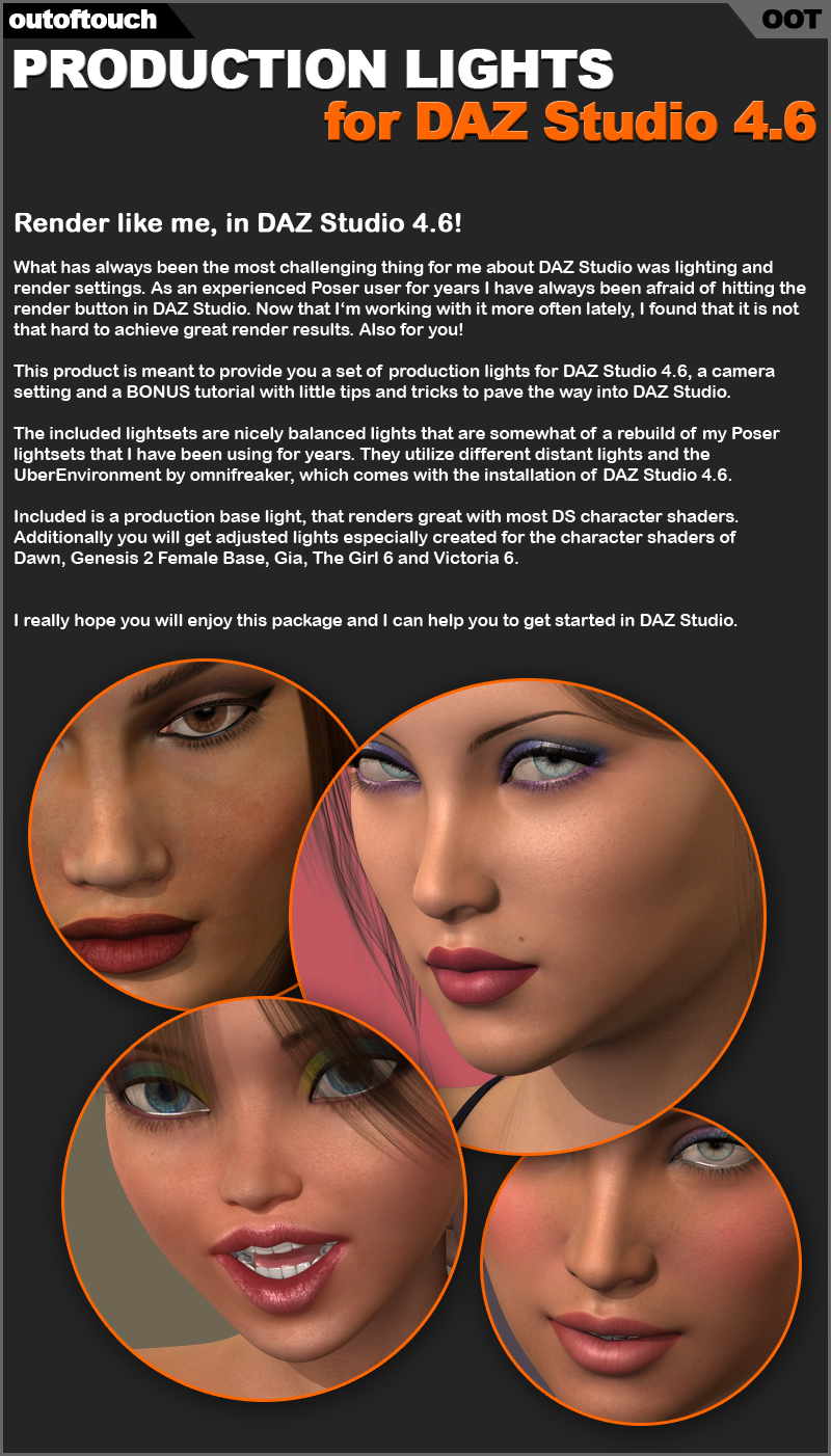 OOT Production Lights for DAZ Studio 4.6 (+Tutorial)