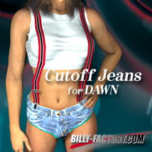 Dawn Cutoff Jeans 3D Figure Assets billy-t