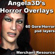 Angela3D's Horror Overlays Themed 2D And/Or Merchant Resources Angela3D