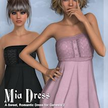 Mia Dress for Genesis 2 Female 3D Figure Essentials WildDesigns
