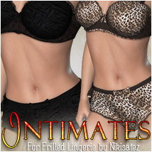 Intimates for Frilled Lingerie 3D Figure Assets 3D Models OziChick