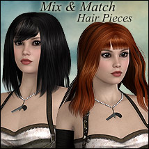 Mix and Match Hair Pieces 3D Figure Assets RPublishing