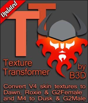 Blacksmith3D's Texture Transformer 3D Software : Poser : Daz Studio : iClone Blacksmith3D