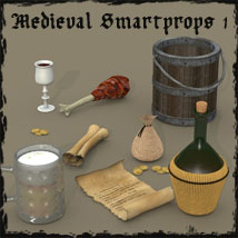 Medieval Smartprop Collection 1 Props/Scenes/Architecture Themed Poses/Expressions Software Accessories 3-d-c