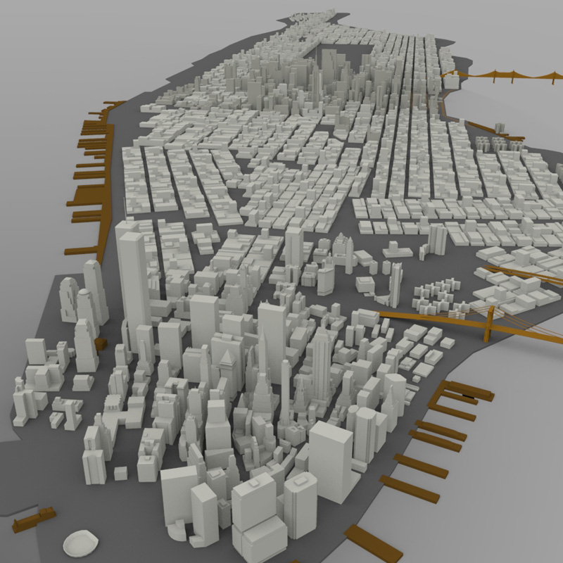 Manhattan Island Cityscape For Wavefront Obj 3d Models
