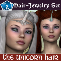 The Unicorn Hair For V4 And A4 3D Figure Assets EmmaAndJordi