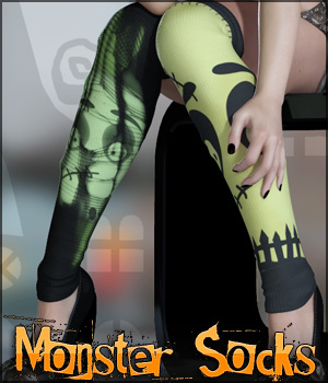 Monster Socks 3D Figure Assets 3D Models lilflame