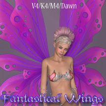 Fantastical Wings V4-M4-K4-Dawn 3D Figure Assets 3D Models nikisatez