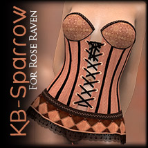 KB-Sparrow for Rose Raven Corset 3D Figure Assets 3D Models karibousboutique