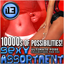 i13 Sexy ASSORTMENT pose collection for V4 3D Figure Assets 3D Models ironman13