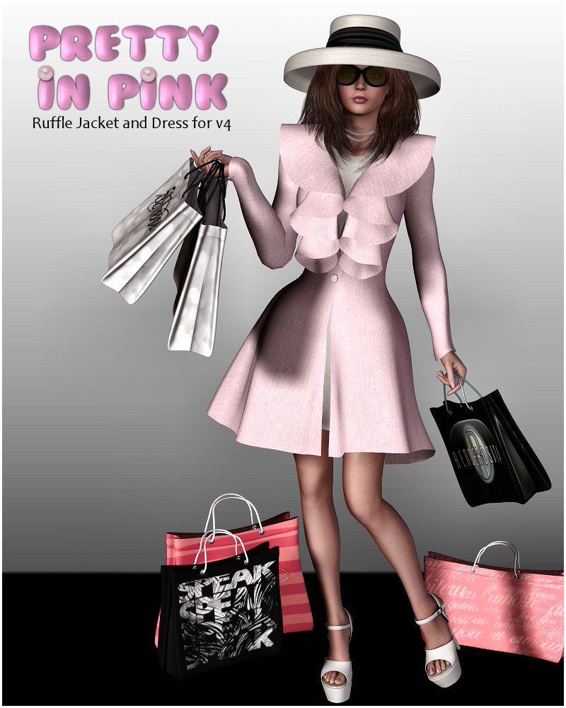 Pretty In Pink Dress, Coat & Hat V4