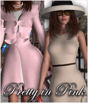 Pretty In Pink Dress, Coat & Hat V4 3D Figure Assets RPublishing