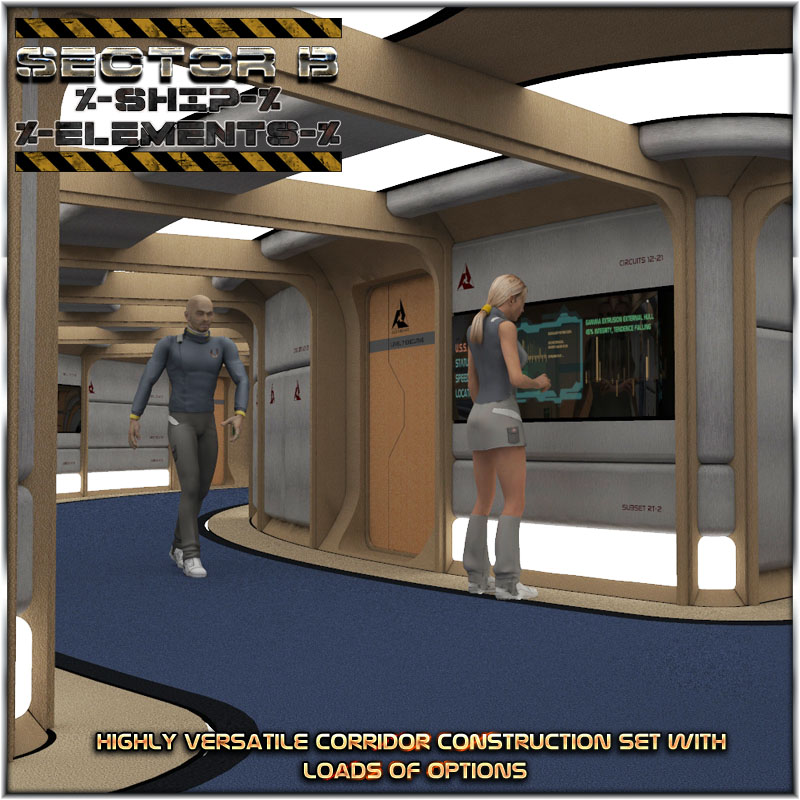 Ship Elements B1: Hallway Construction Set