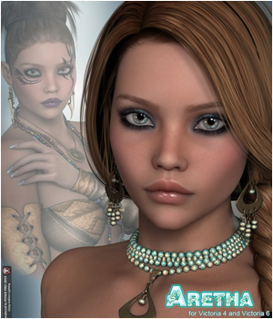 P3D Aretha for Victoria 4 , Genesis 2 Female and Victoria 6 3D Figure Essentials 3D Models P3Design