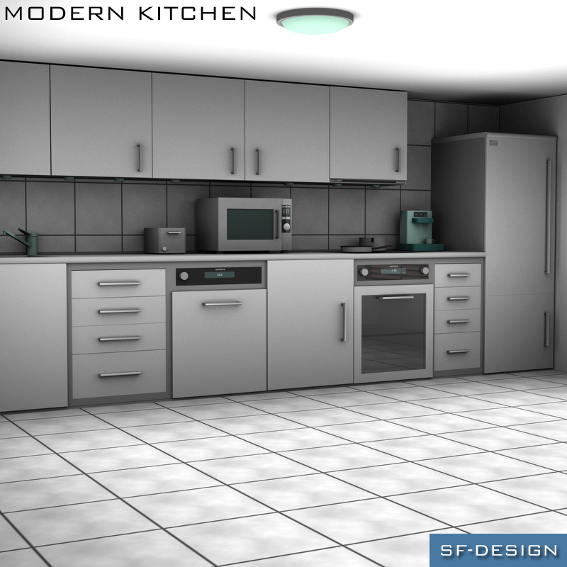Modern Kitchen 3d Model modern kitchen 3d models sf-design