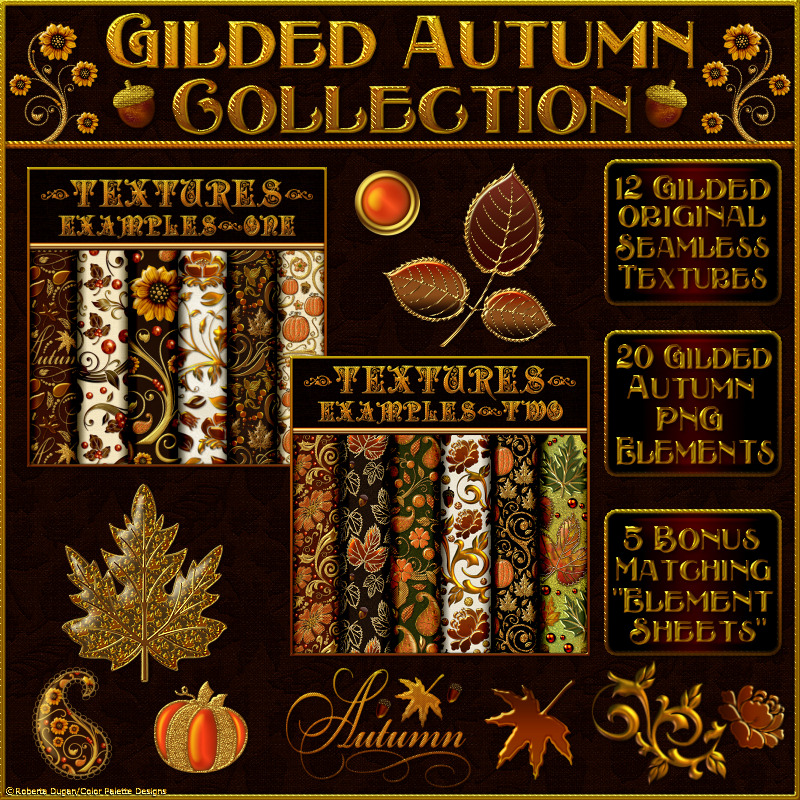 Gilded Autumn Collection w/Free Bonus 2D Graphics