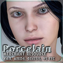 Merchant Resource - Porcelain - for V4, Aiko 4, Genesis and more 3D Figure Essentials 2D _Fenrissa_
