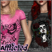 Afflicted for Simple T-shirt Top 3D Figure Assets FrozenStar