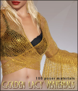 Golden Lacy Materials 2D Graphics 3D Models lilflame