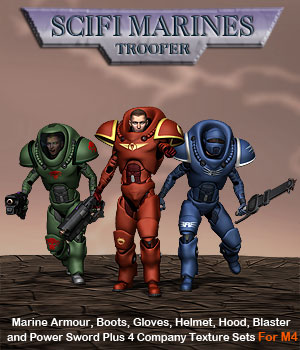 Scifi Marine Trooper M4 3D Models 3D Figure Essentials Simon-3D