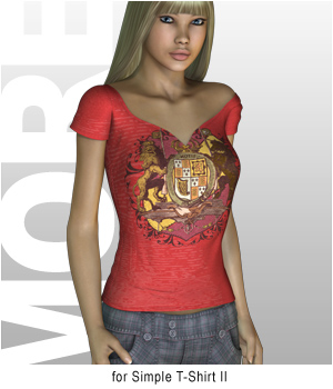 MORE Textures & Styles for Simple T-Shirt II 3D Models 3D Figure Essentials motif