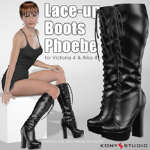 Lace-up Boots Phoebe 3D Figure Assets kony