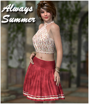 Always Summer Outfit & FREE Lydia Boots 3D Figure Essentials 3D Models RPublishing
